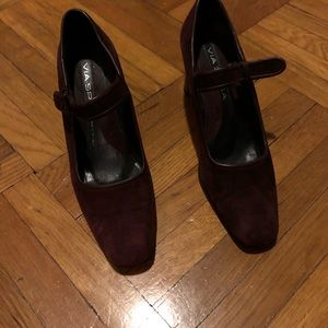 Via Spiga Buckle Suede Shoes BURGUNDY color